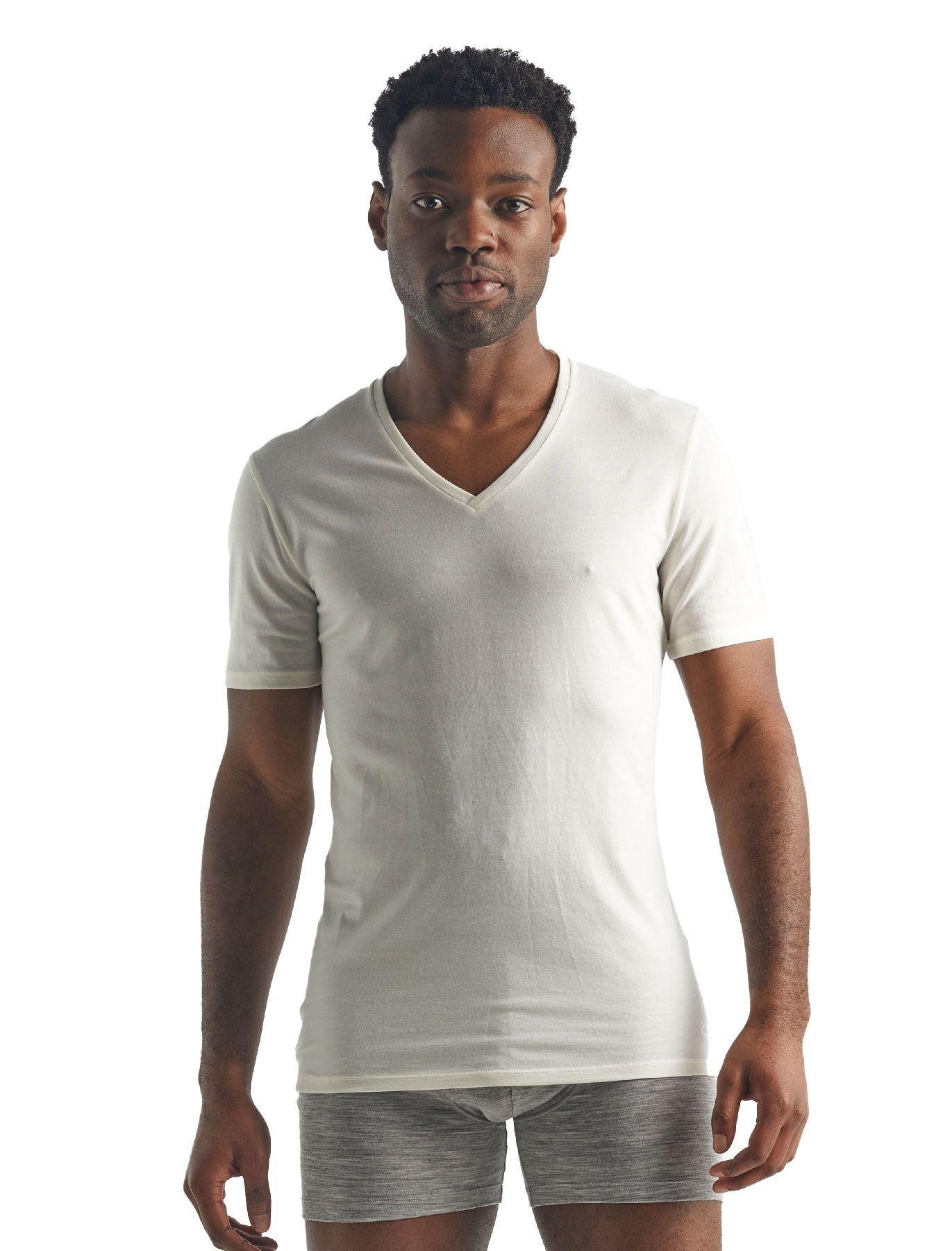 Icebreaker Anatomica Short Sleeve col V en Mérinos - T-Shirt - Herren